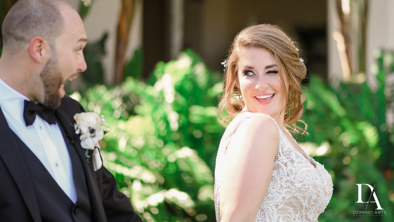 Fun bride and groom at Romantic Outdoors Wedding at Woodfield Country Club in Boca Raton, Florida