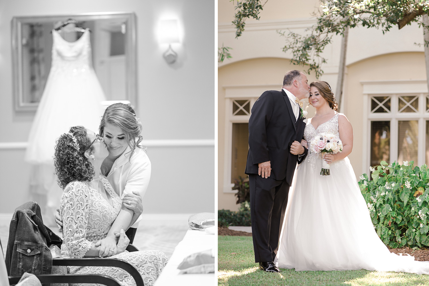 Family pictures at Romantic Outdoors Wedding at Woodfield Country Club in Boca Raton, Florida