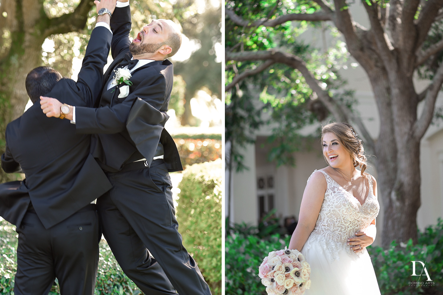 Fun candid pictures at Romantic Outdoors Wedding at Woodfield Country Club in Boca Raton, Florida by Domino Arts Photography
