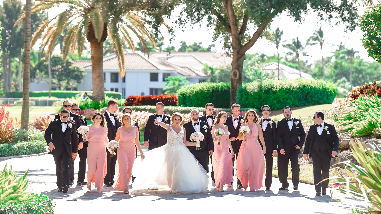 Fun bridal party at Romantic Outdoors Wedding at Woodfield Country Club in Boca Raton, Florida by Domino Arts Photography
