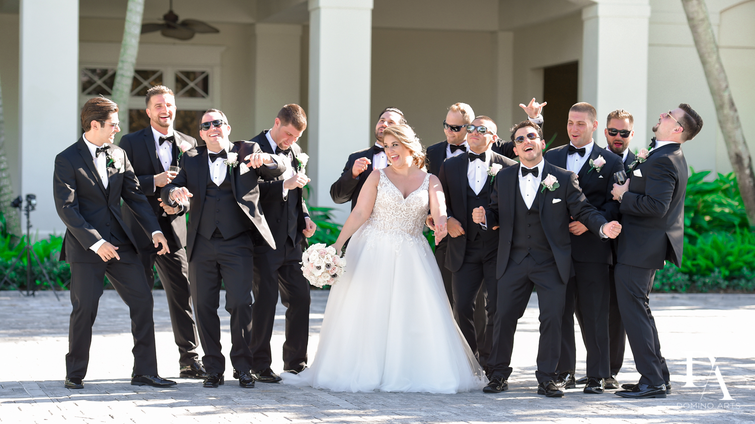 Fun wedding party pictures at Romantic Outdoors Wedding at Woodfield Country Club in Boca Raton, Florida by Domino Arts Photography