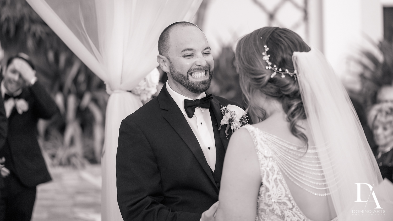 fun black and white pictures at Romantic Outdoors Wedding at Woodfield Country Club in Boca Raton, Florida by Domino Arts Photography