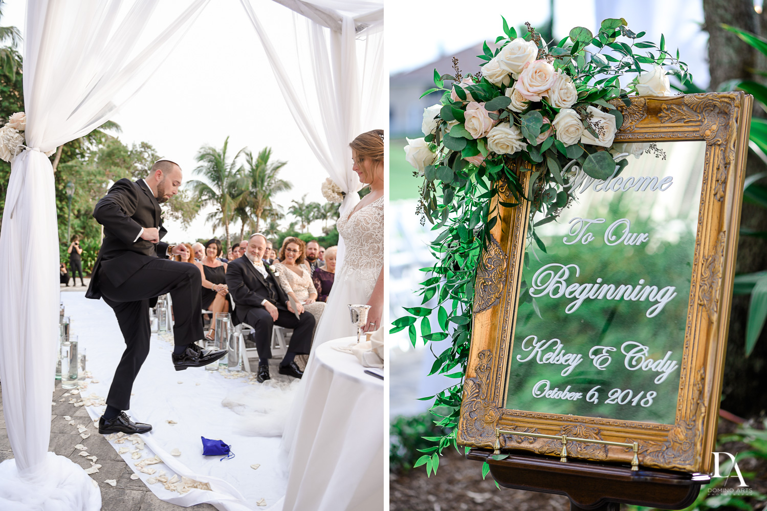 Jewish ceremony at Romantic Outdoors Wedding at Woodfield Country Club in Boca Raton, Florida by Domino Arts Photography