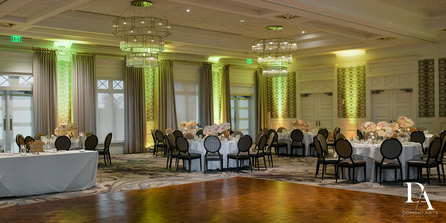 Floral decor at Romantic Wedding Woodfield Country Club in Boca Raton, Florida by Domino Arts Photography