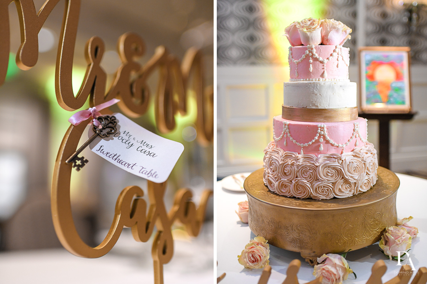 Wedding cake details at Romantic Wedding Woodfield Country Club in Boca Raton, Florida by Domino Arts Photography