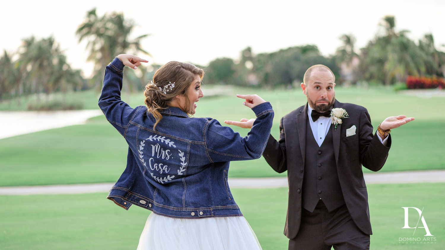 Fun candid bride and groom at country club wedding Woodfield Boca South Florida by Domino Arts