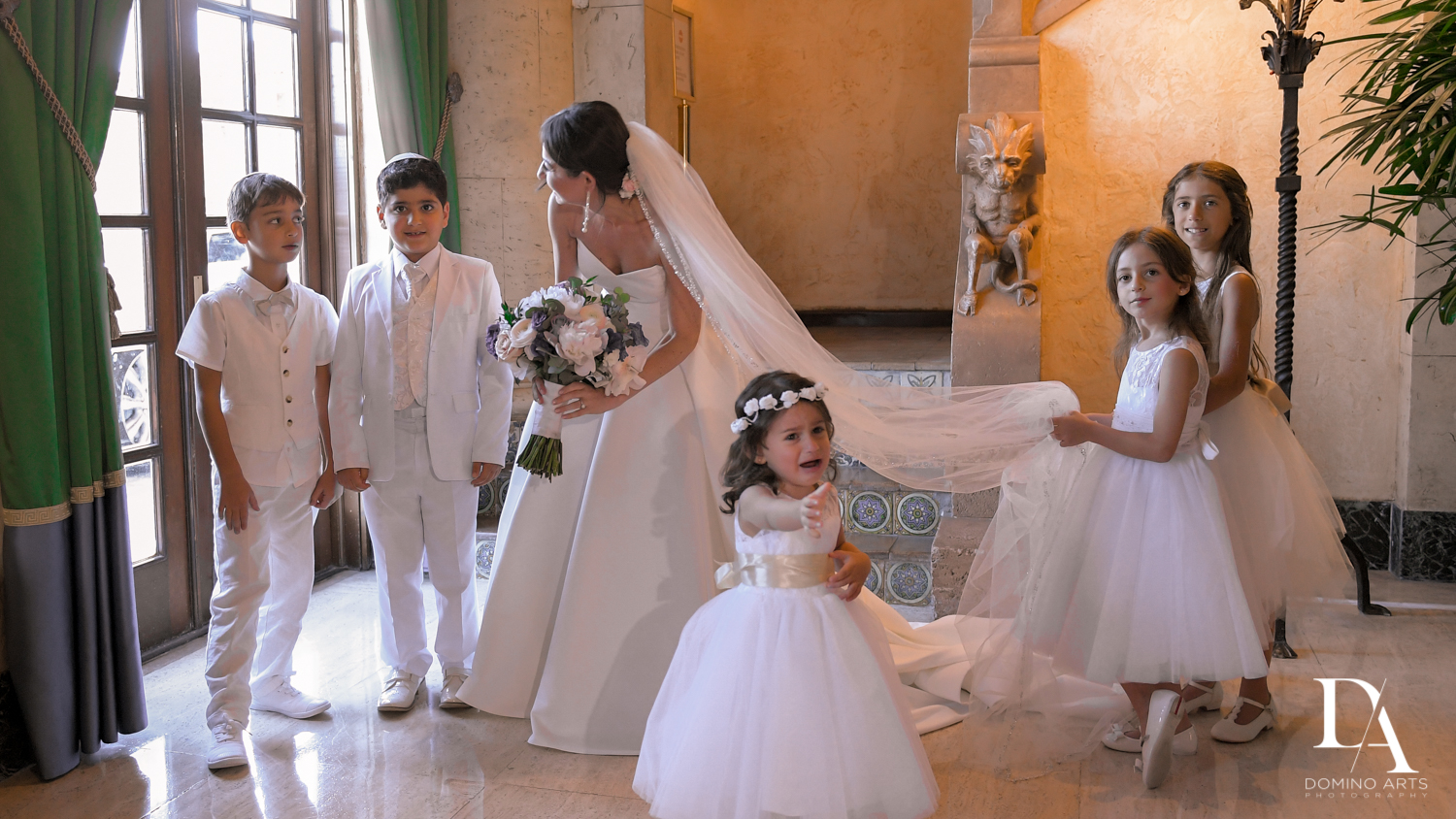 kids at Modern Luxury Jewish Wedding Photography at Biltmore Miami Coral Gables