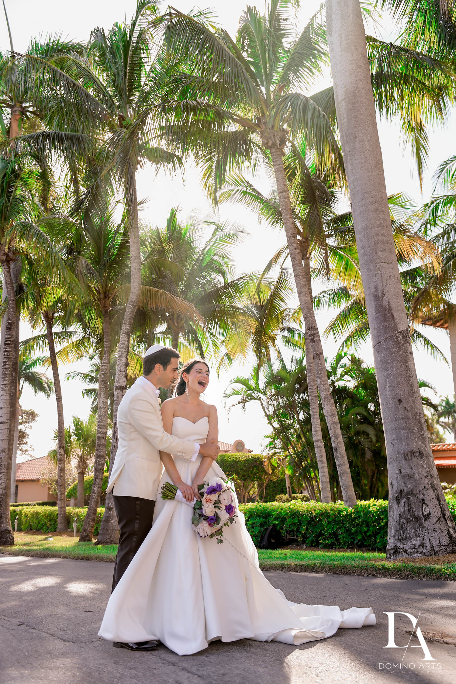 bride and groom at Modern Luxury Jewish Wedding Photography at Biltmore Miami Coral Gables