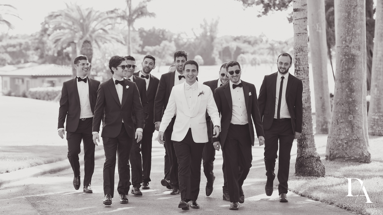groom and guys at Modern Luxury Jewish Wedding Photography at Biltmore Miami Coral Gables