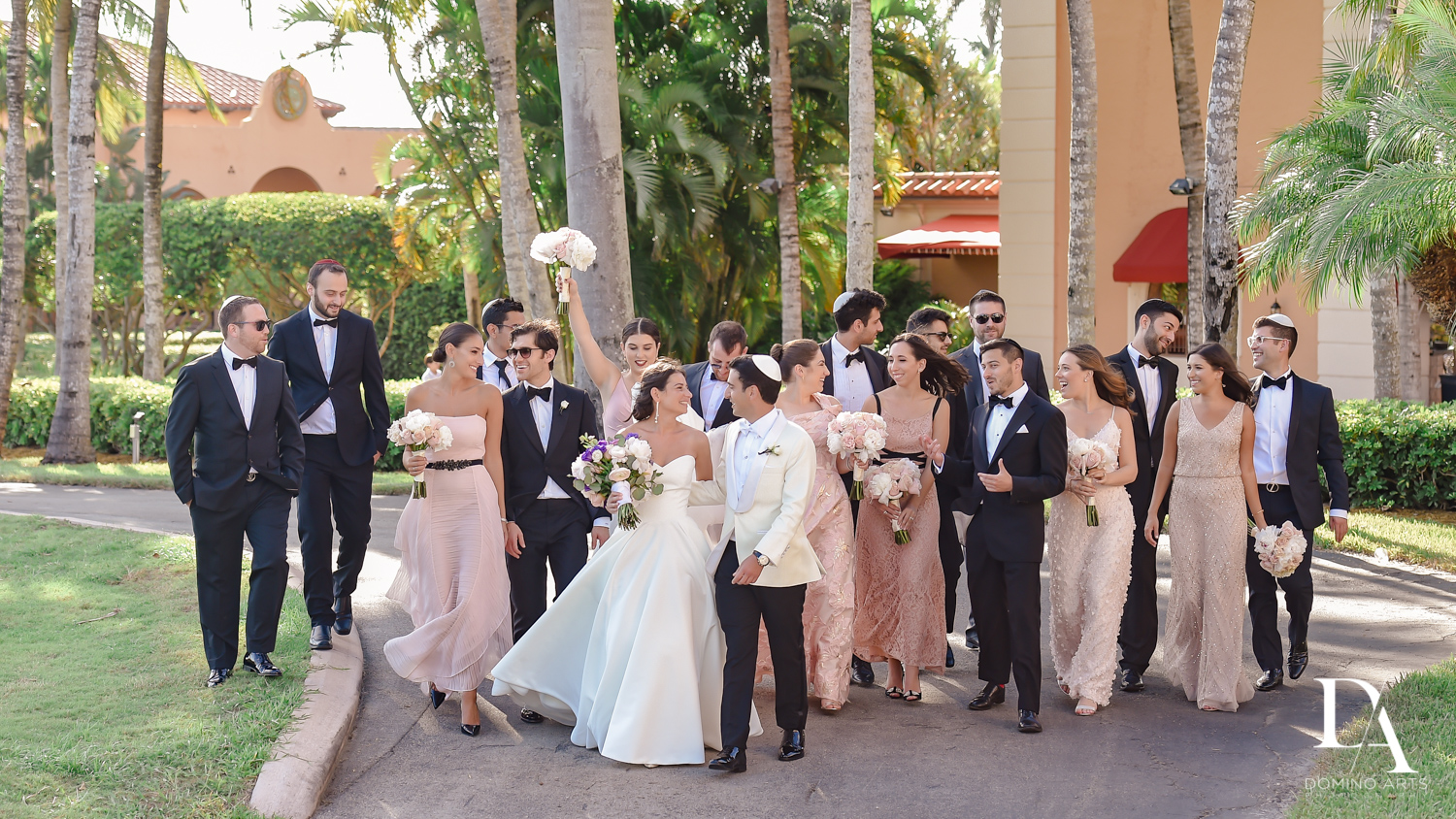 bridal party at Modern Luxury Jewish Wedding Photography at Biltmore Miami Coral Gables
