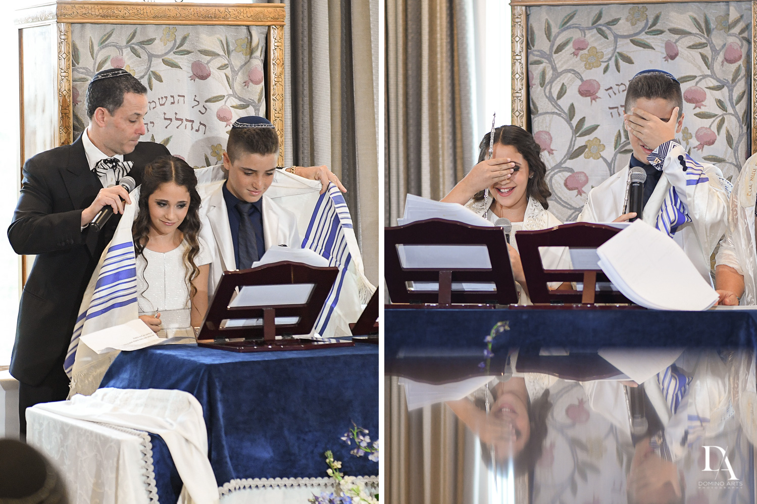 Jewish ceremony at Luxury B'Nai Mitzvah at Woodfield Country Club by Domino Arts Photography