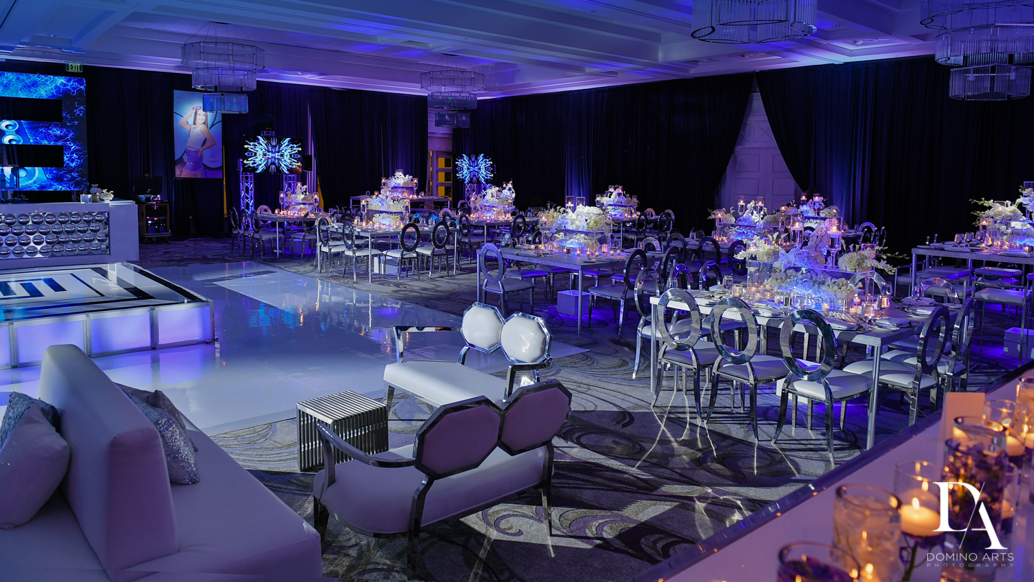 Luxury B'Nai Mitzvah decor at Woodfield Country Club by Domino Arts Photography