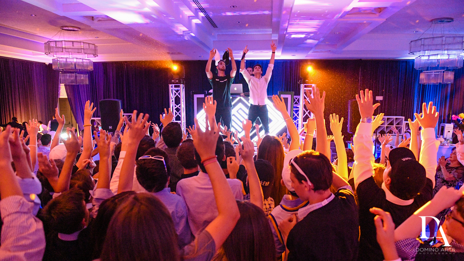 Fun party at Luxury B'Nai Mitzvah at Woodfield Country Club by Domino Arts Photography