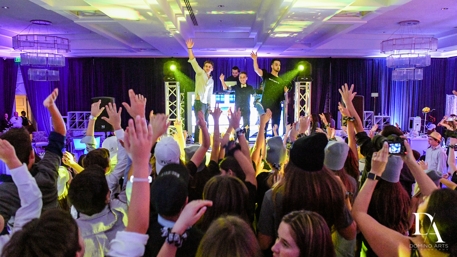 Fun party pics at Luxury B'Nai Mitzvah at Woodfield Country Club by Domino Arts Photography