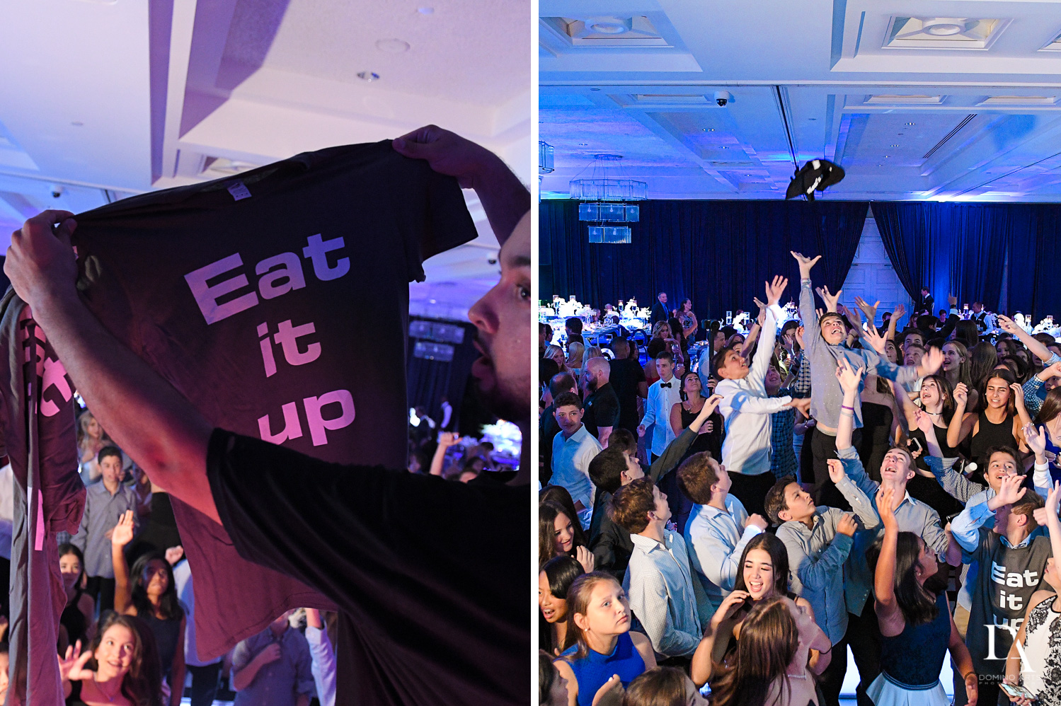 Party favor tshirts at Luxury B'Nai Mitzvah at Woodfield Country Club by Domino Arts Photography