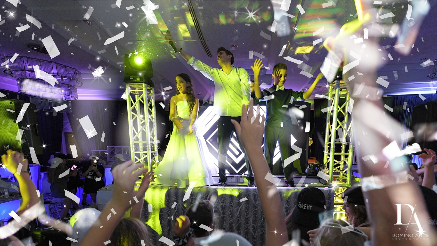 crazy party pics at Luxury B'Nai Mitzvah at Woodfield Country Club by Domino Arts Photography