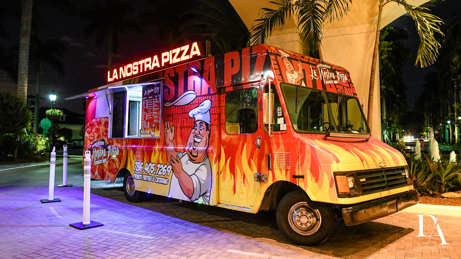 Pizza truck at Luxury B'Nai Mitzvah at Woodfield Country Club by Domino Arts Photography