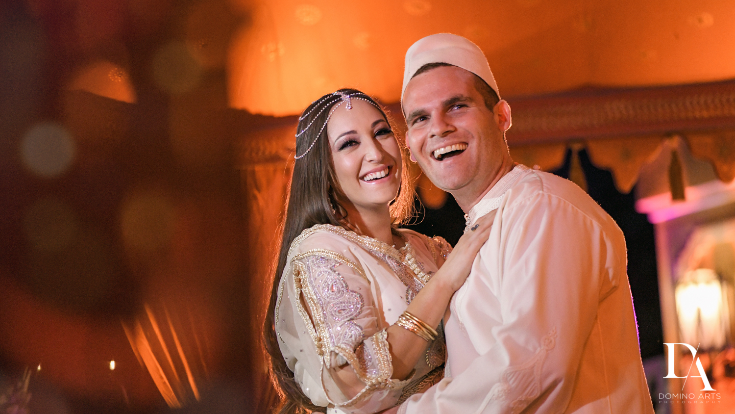 Happy couple at Traditional Henna Party Photography at Lavan South Florida by Domino Arts