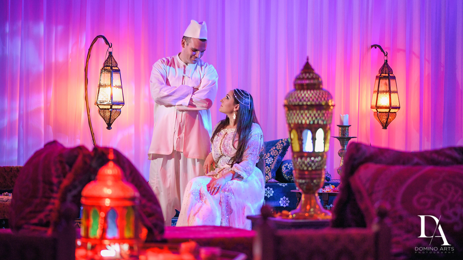 Couple and decor at Traditional Henna Party Photography at Lavan South Florida by Domino Arts