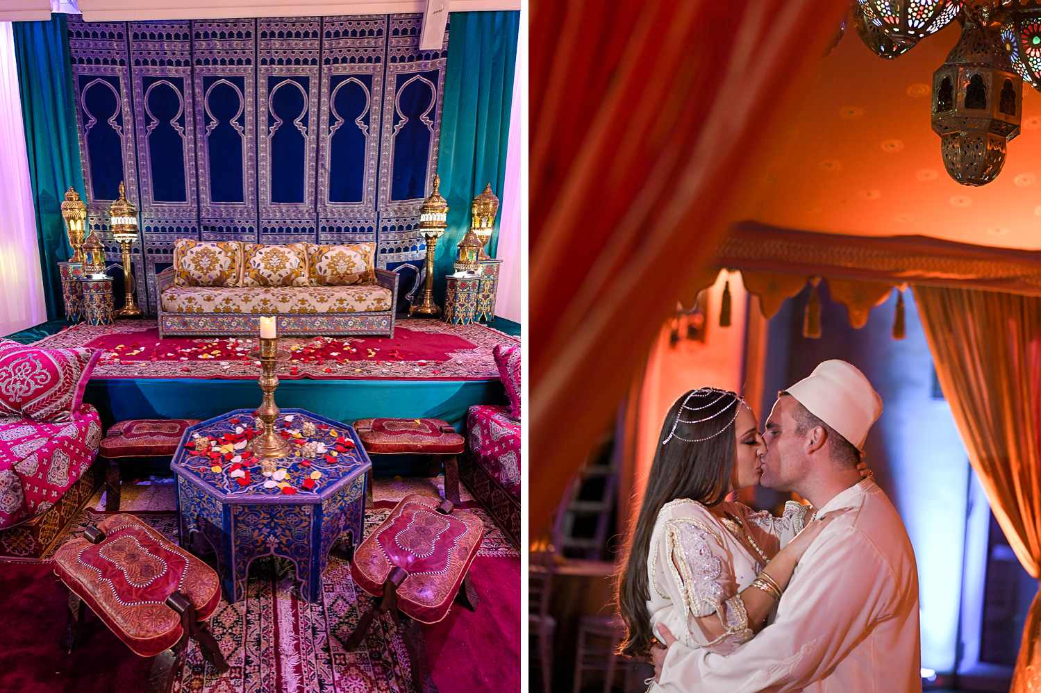 decor and couple at Traditional Henna Party Photography at Lavan South Florida by Domino Arts