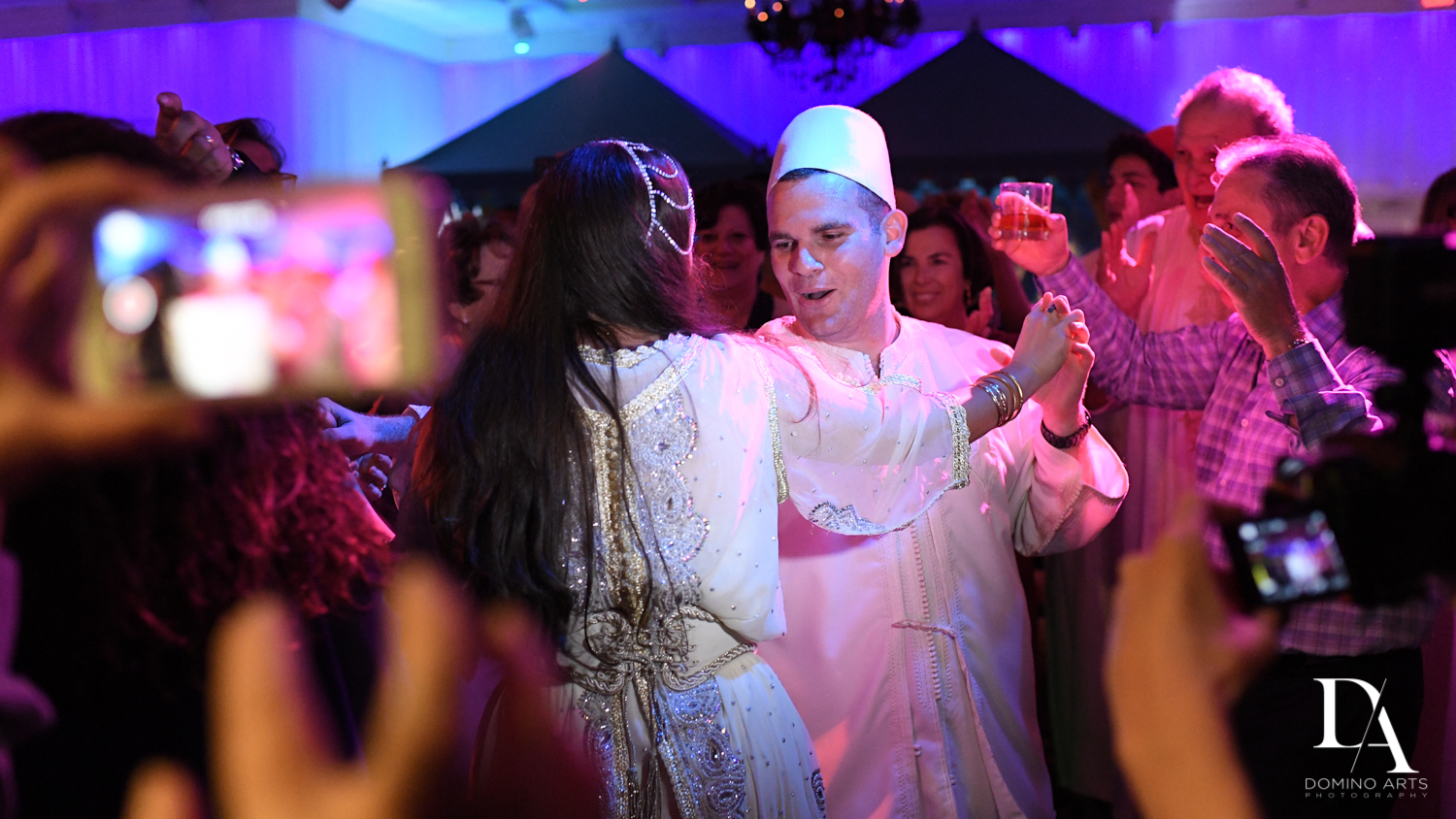 couple dancing at party at Traditional Henna Party Photography at Lavan South Florida by Domino Arts