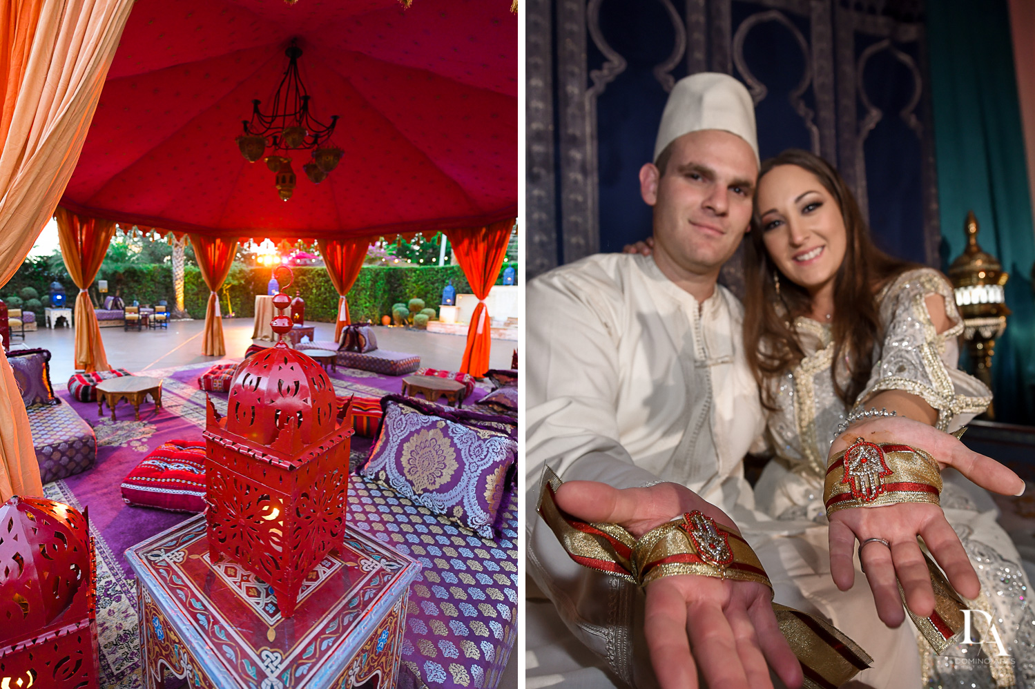 decor and bride and groom at Traditional Henna Party Photography at Lavan South Florida by Domino Arts