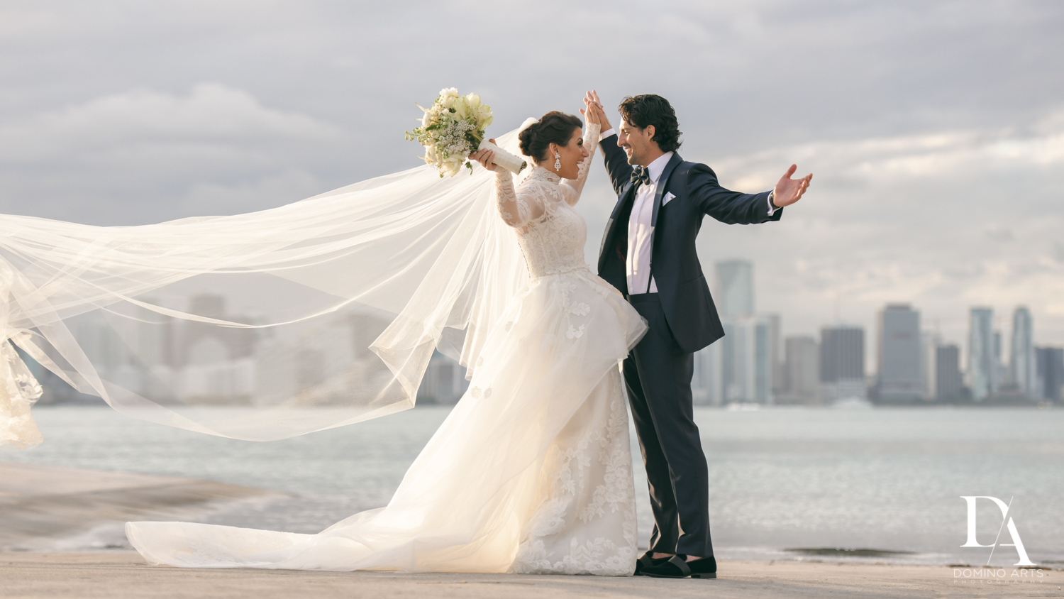 miami skyline at Luxurious Destination Wedding at Fisher Island Miami by Domino Arts Photography