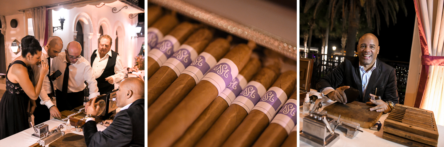 hand rolled cuban cigars at Luxurious Destination Wedding at Fisher Island Miami by Domino Arts Photography