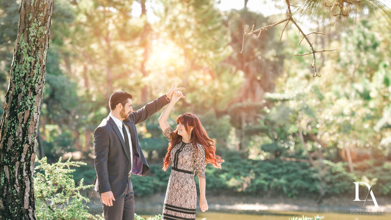 Romantic dancing at Japanese Garden Engagement at Morikami by Domino Arts Photography