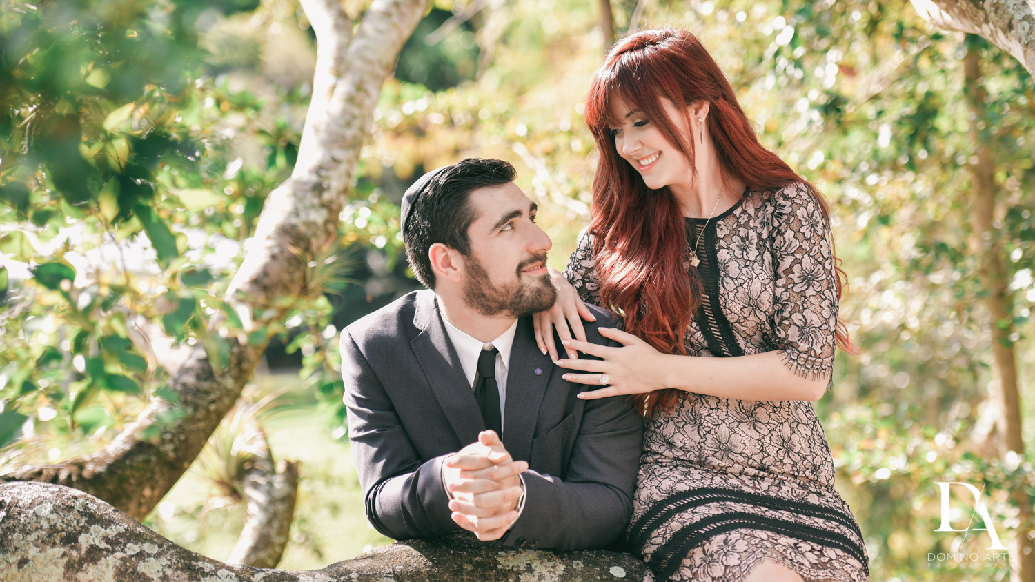 bride and groom at Japanese Garden Engagement at Morikami by Domino Arts Photography