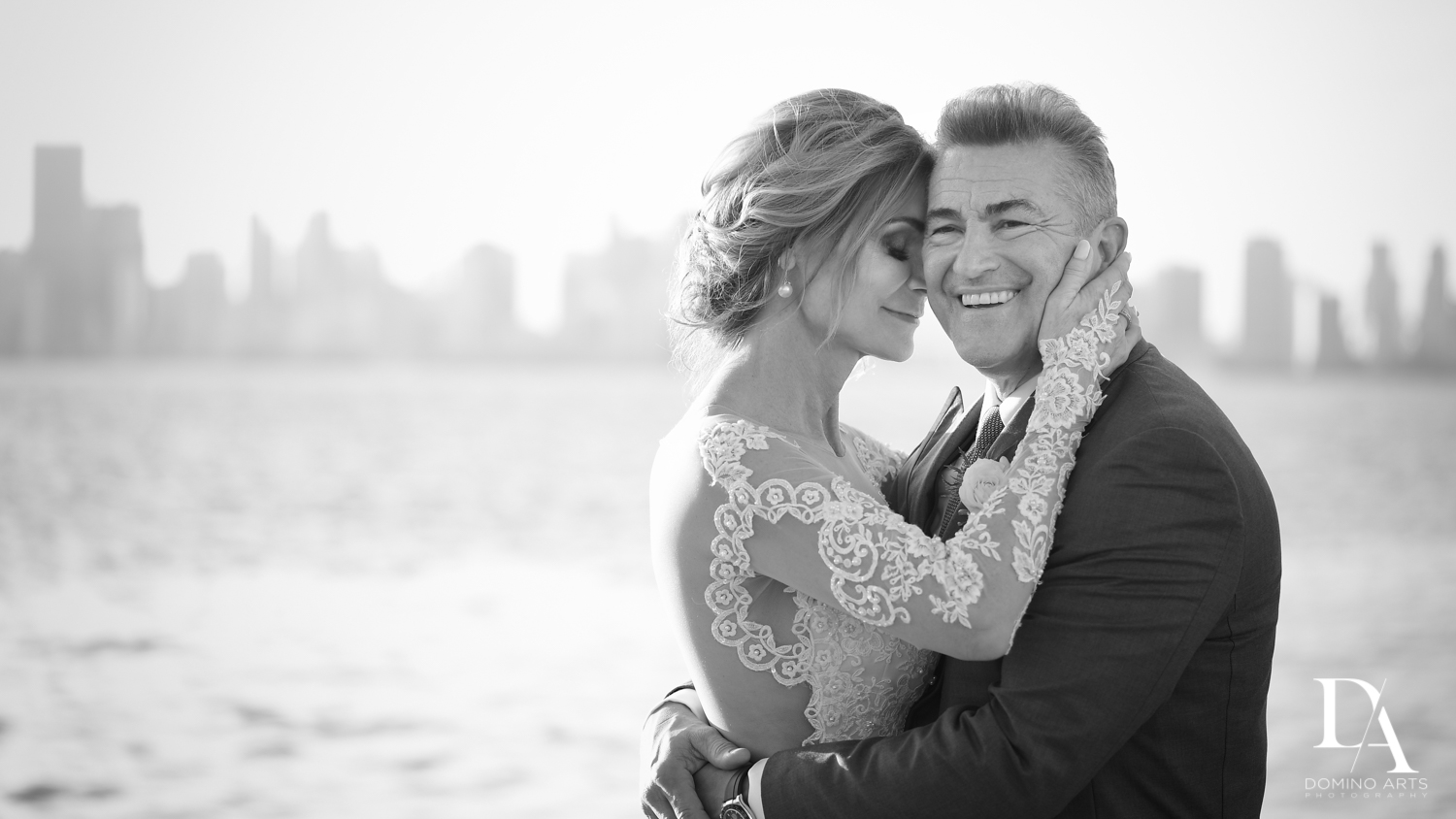 Black and white Classic & Elegant Wedding Photography at Fisher Island Miami by Domino Arts Photography