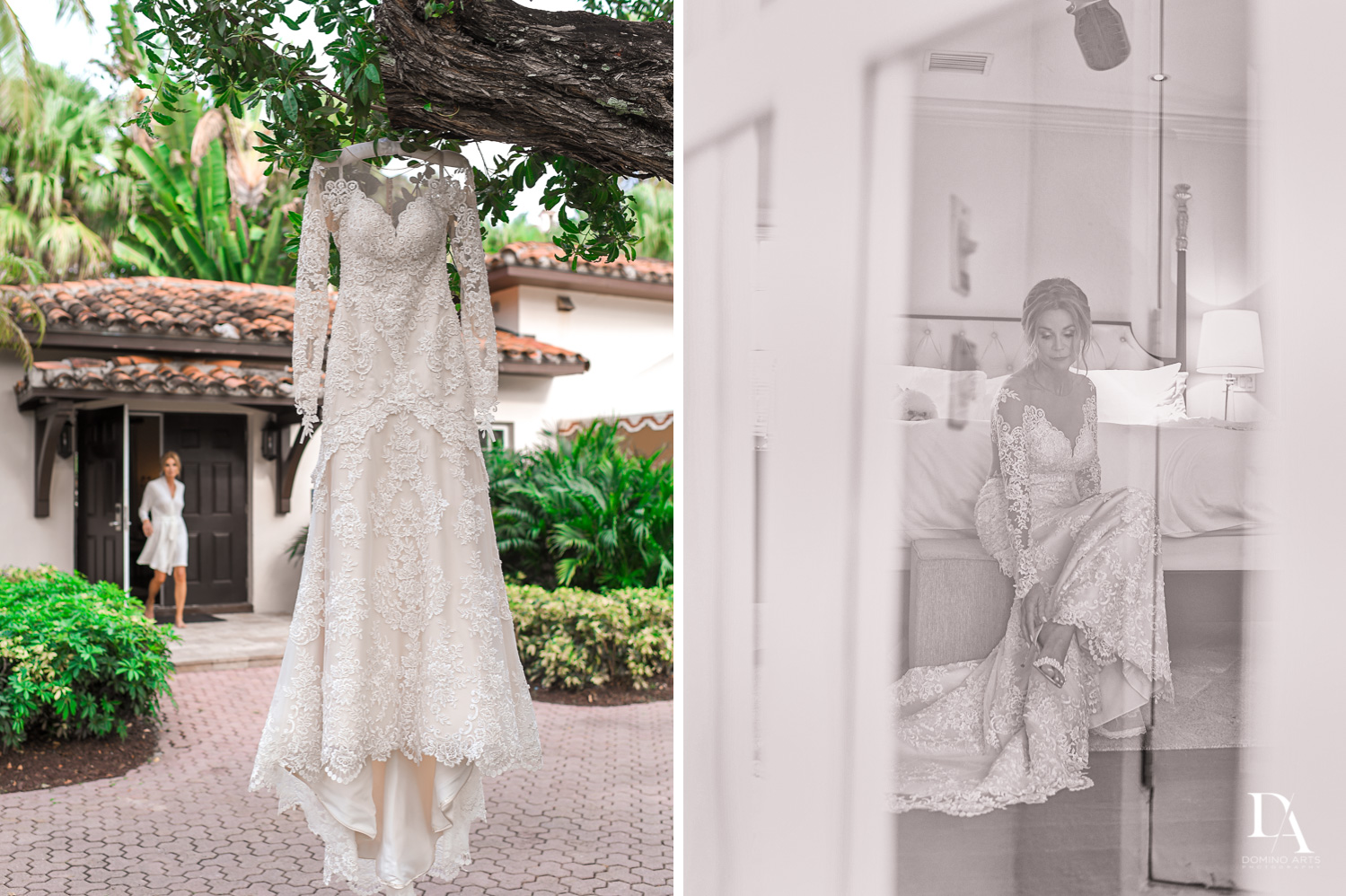 wedding dress at Classic & Elegant Wedding Photography at Fisher Island Miami by Domino Arts Photography