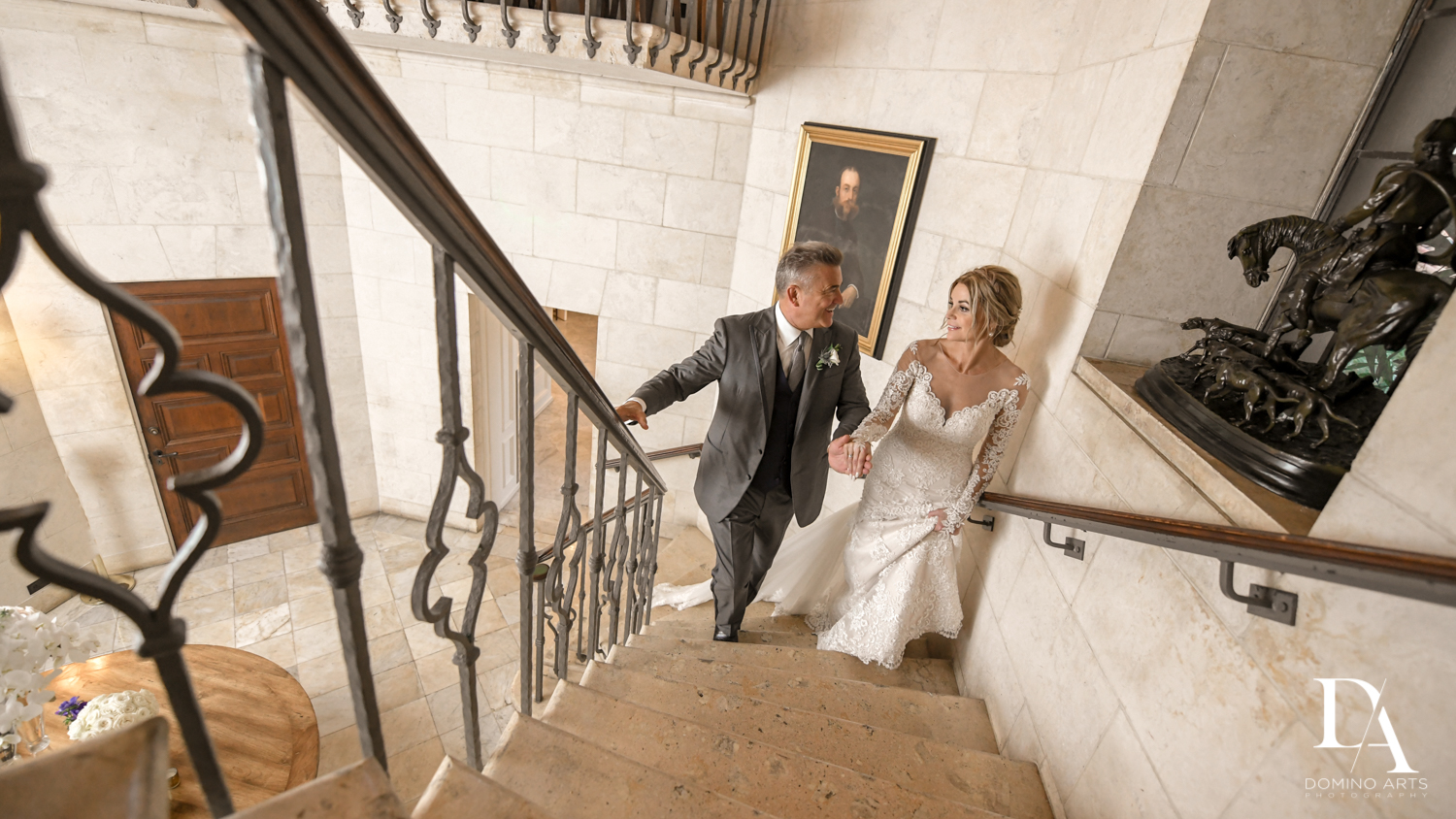 stairway portrait at Classic & Elegant Wedding Photography at Fisher Island Miami by Domino Arts Photography