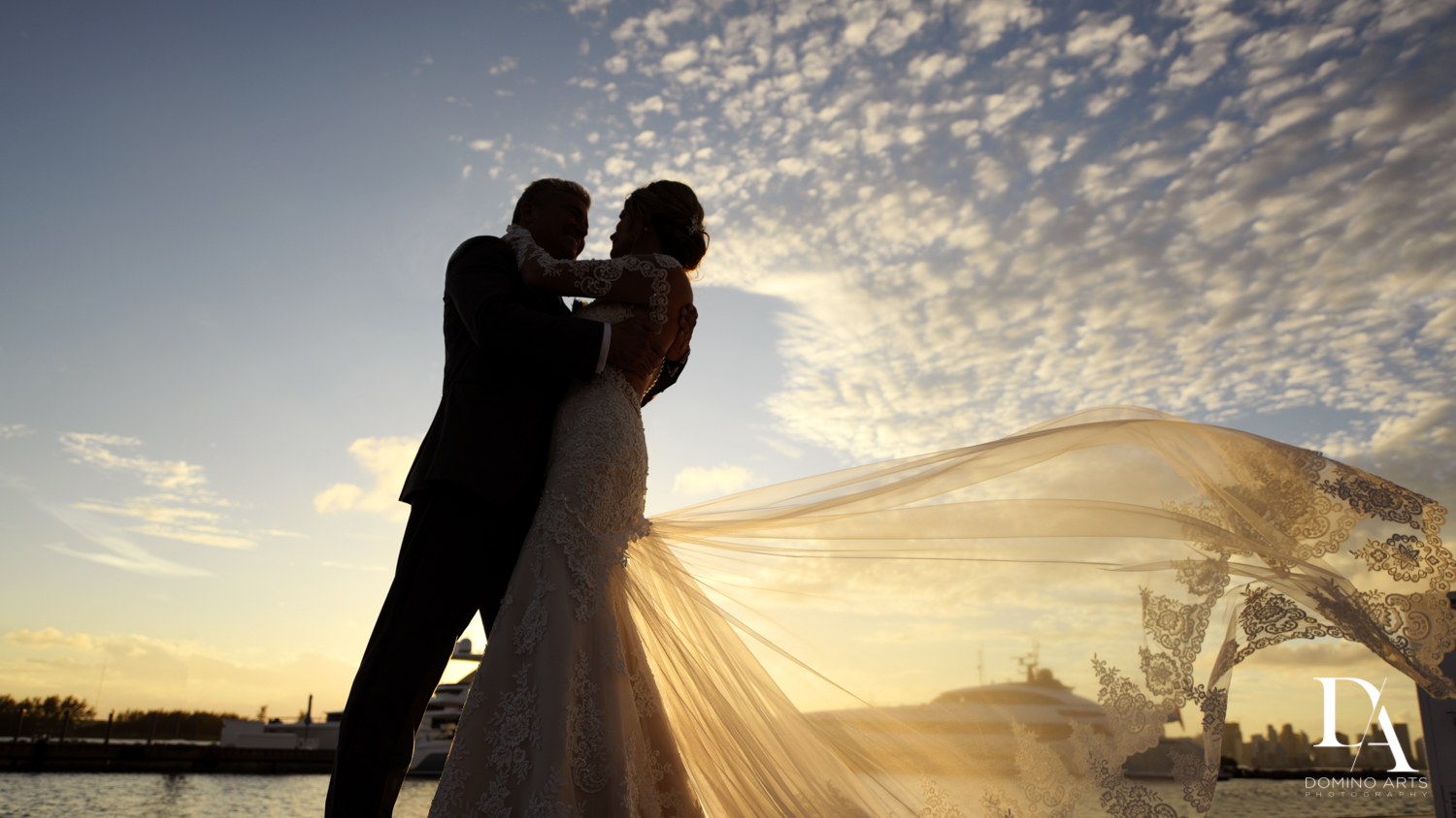 sunset at Classic & Elegant Wedding Photography at Fisher Island Miami by Domino Arts Photography