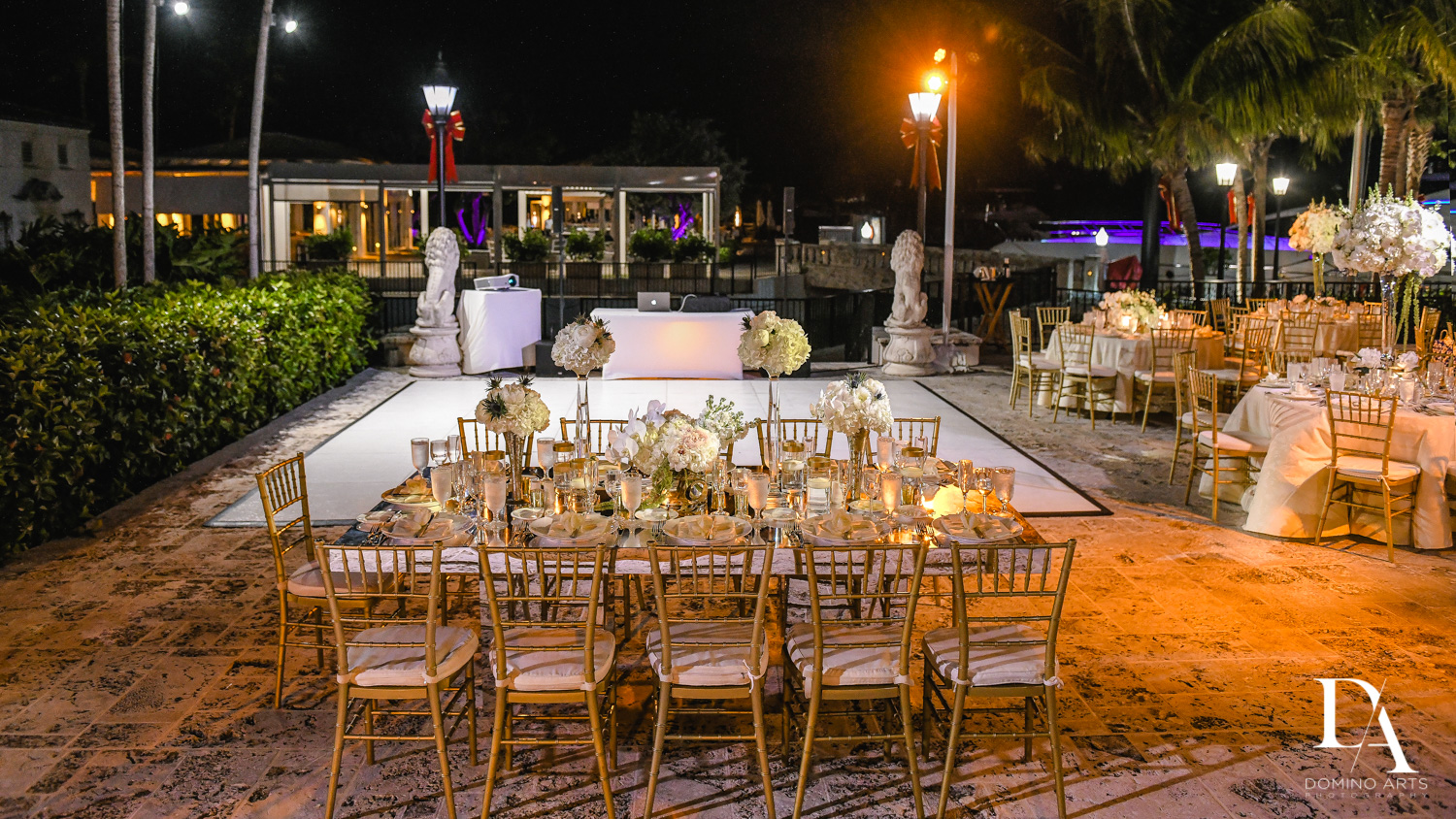 decor at Classic & Elegant Wedding Photography at Fisher Island Miami
