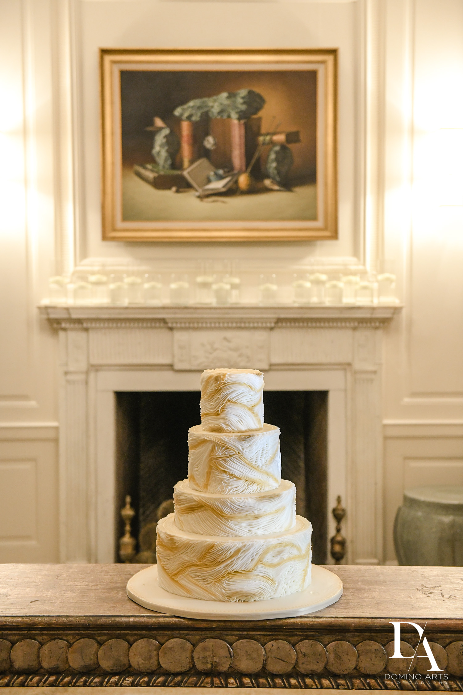 cake at Classic & Elegant Wedding at Fisher Island Miami by Domino arts Photography