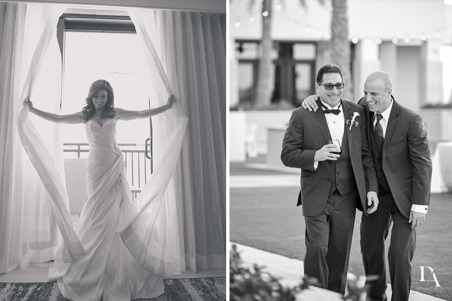 Black and white Wedding Photography in South Florida at Fort Lauderdale Marriott Harbor Beach Resort & Spa by Domino Arts Photography