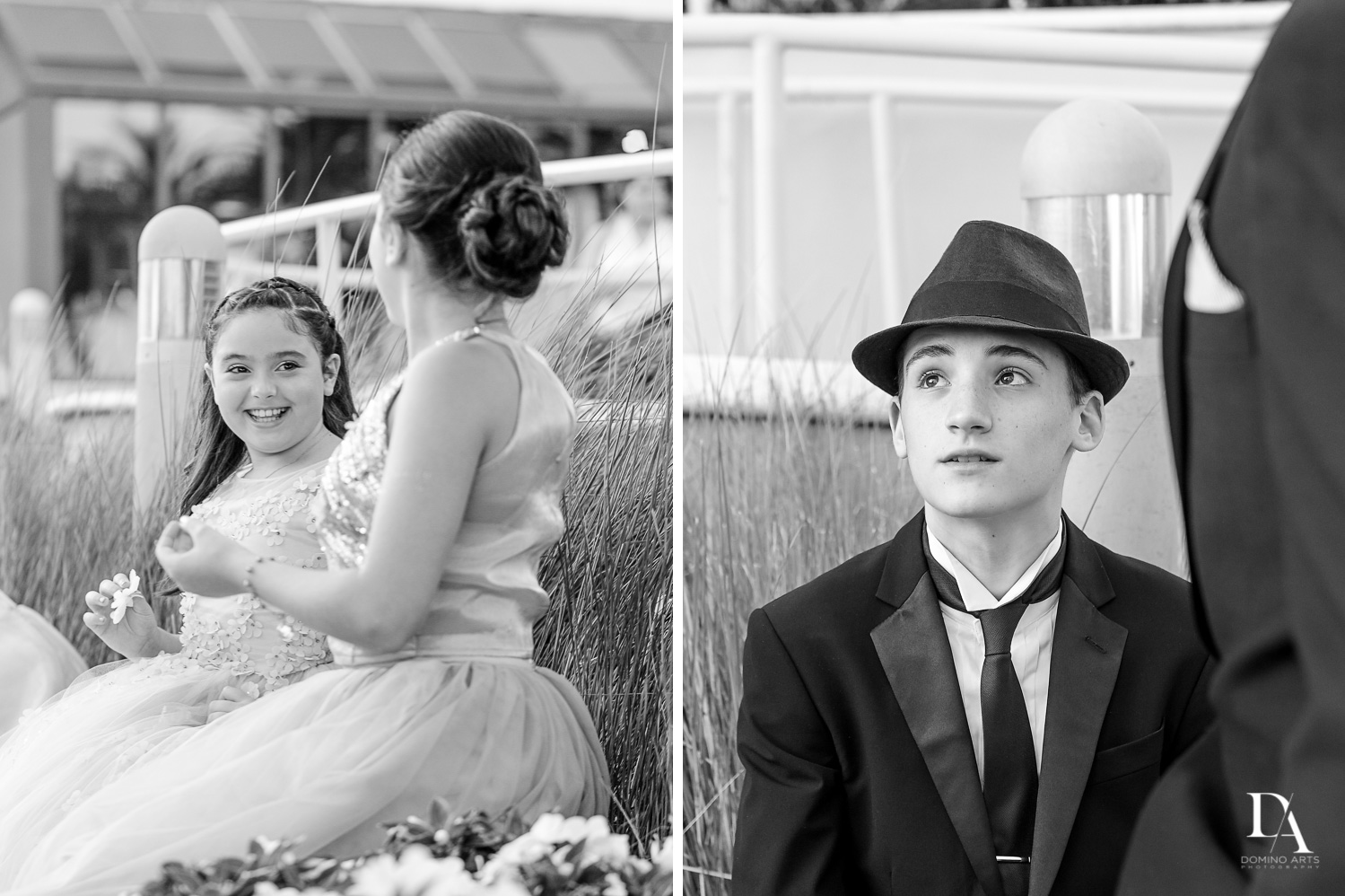 Black and white kids Wedding Photography in South Florida at Fort Lauderdale Marriott Harbor Beach Resort & Spa by Domino Arts Photography