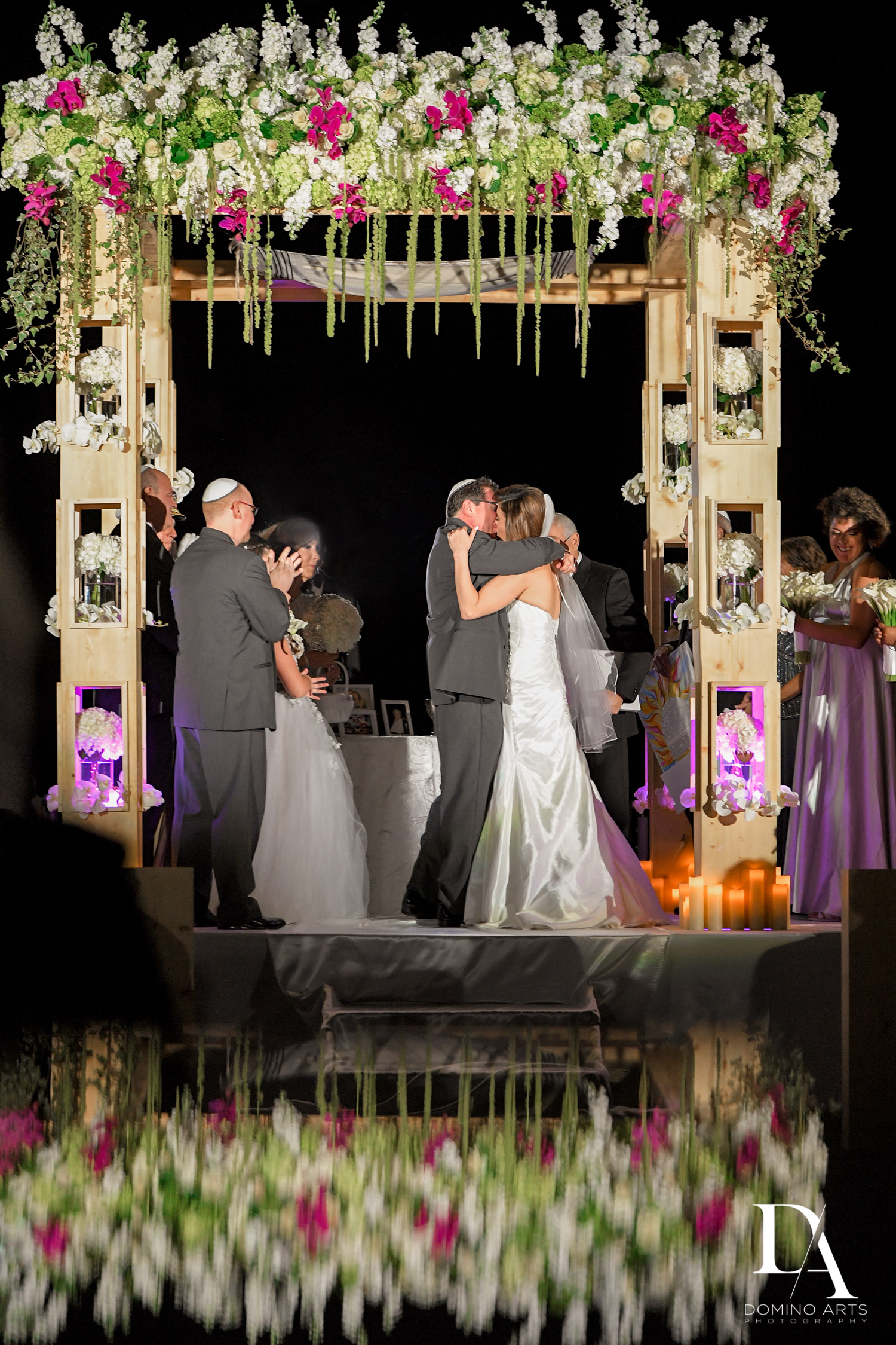 Beautiful chuppah Wedding Photography in South Florida at Fort Lauderdale Marriott Harbor Beach Resort & Spa by Domino Arts Photography