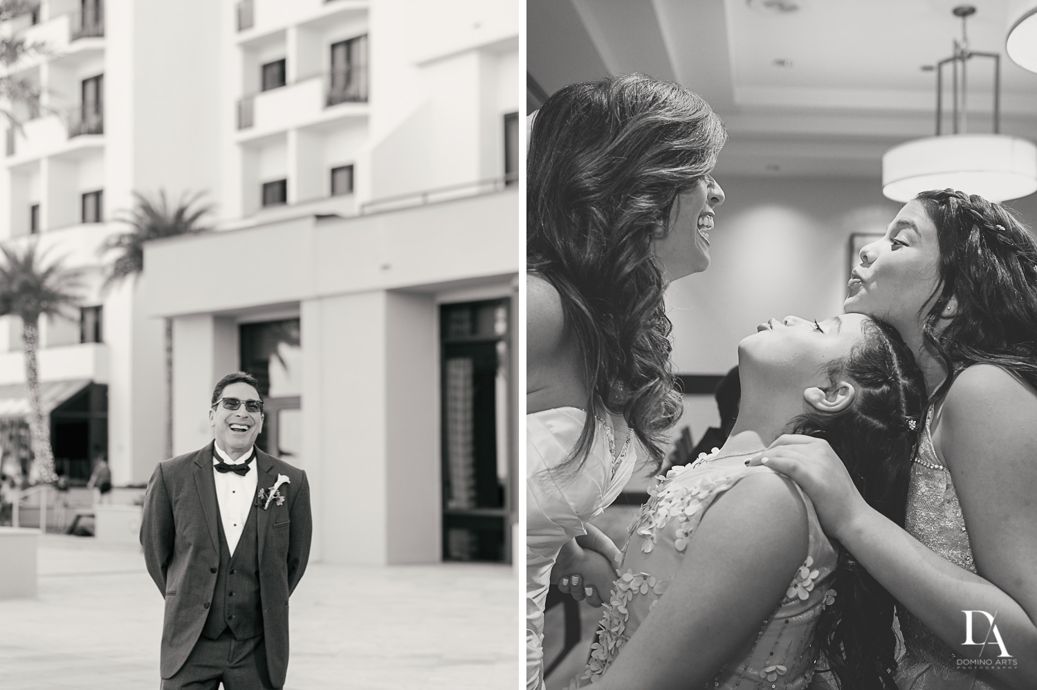 Fun Wedding Photography in South Florida at Fort Lauderdale Marriott Harbor Beach Resort & Spa by Domino Arts Photography