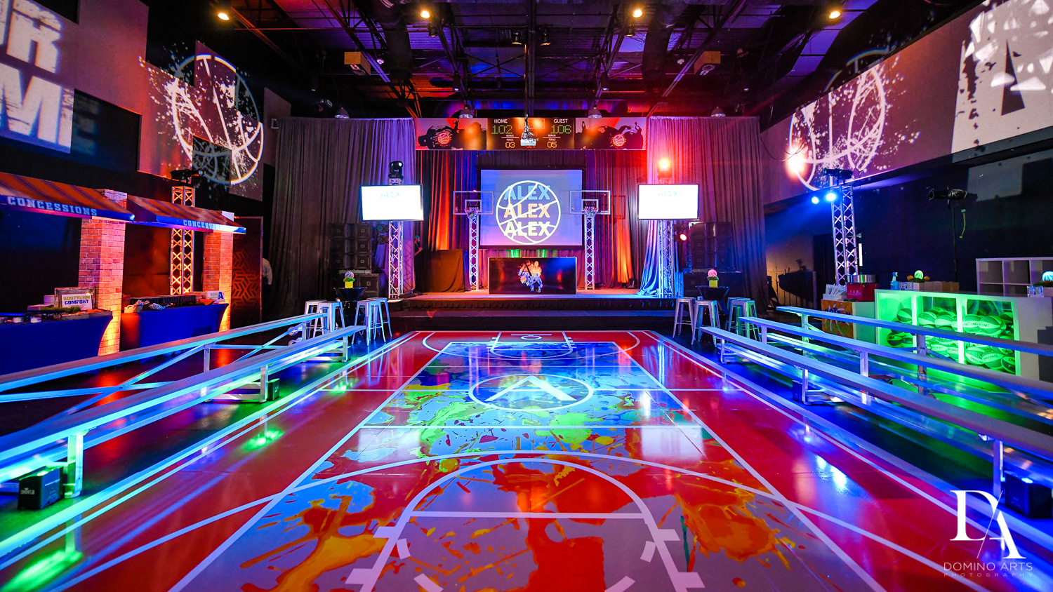 amazing basketball room decor at Fun Basketball Theme Bar Mitzvah at The Fillmore Miami Beach by Domino Arts Photography