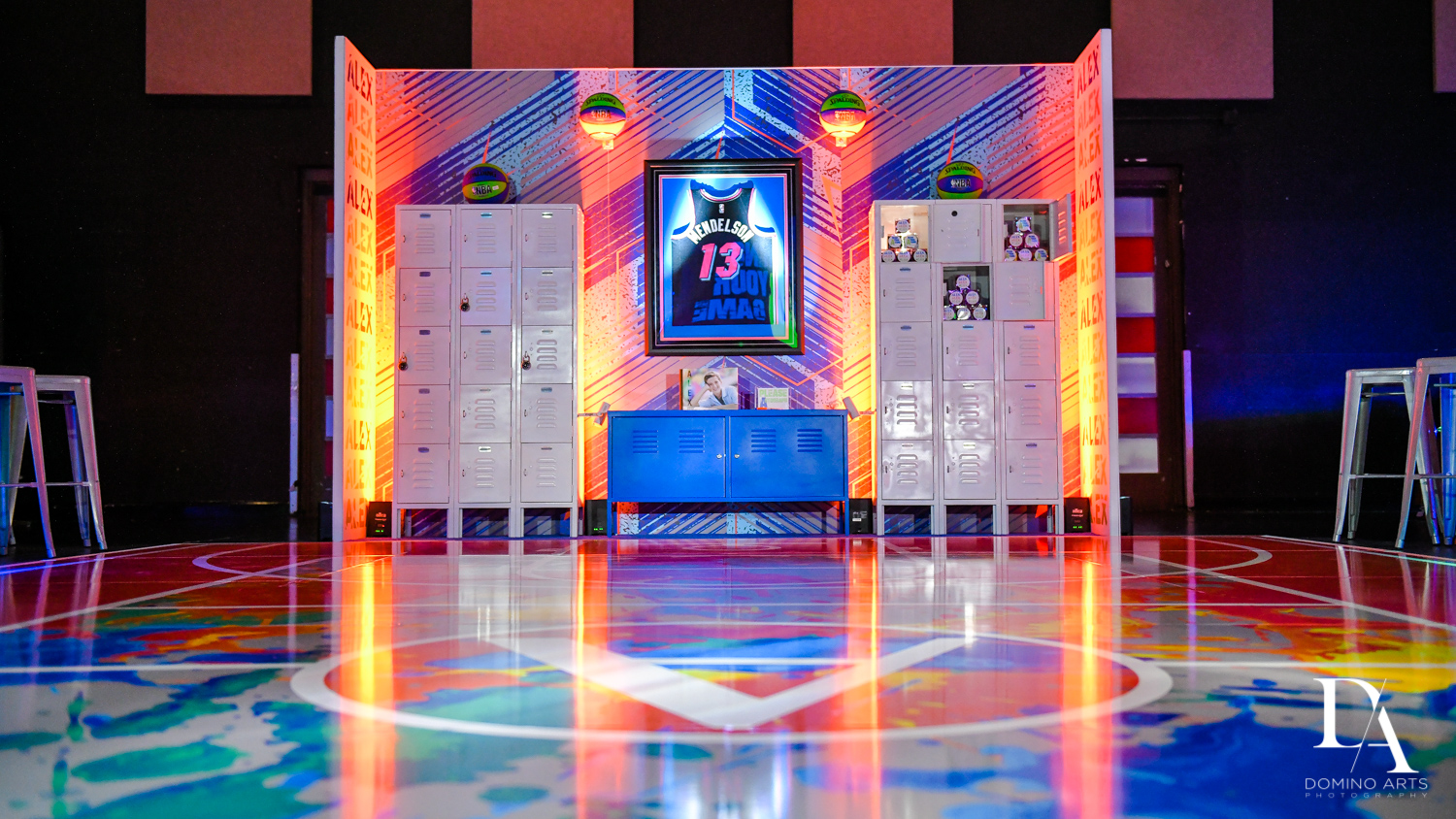 great decor at Fun Basketball Theme Bar Mitzvah at The Fillmore Miami Beach by Domino Arts Photography