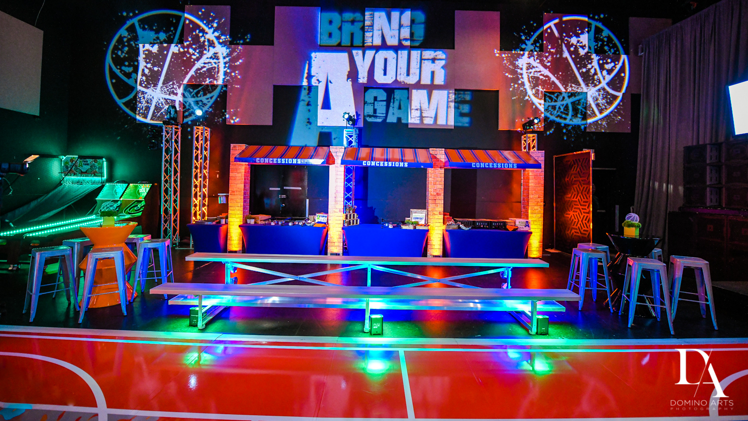 great set up and decor at Fun Basketball Theme Bar Mitzvah at The Fillmore Miami Beach by Domino Arts Photography