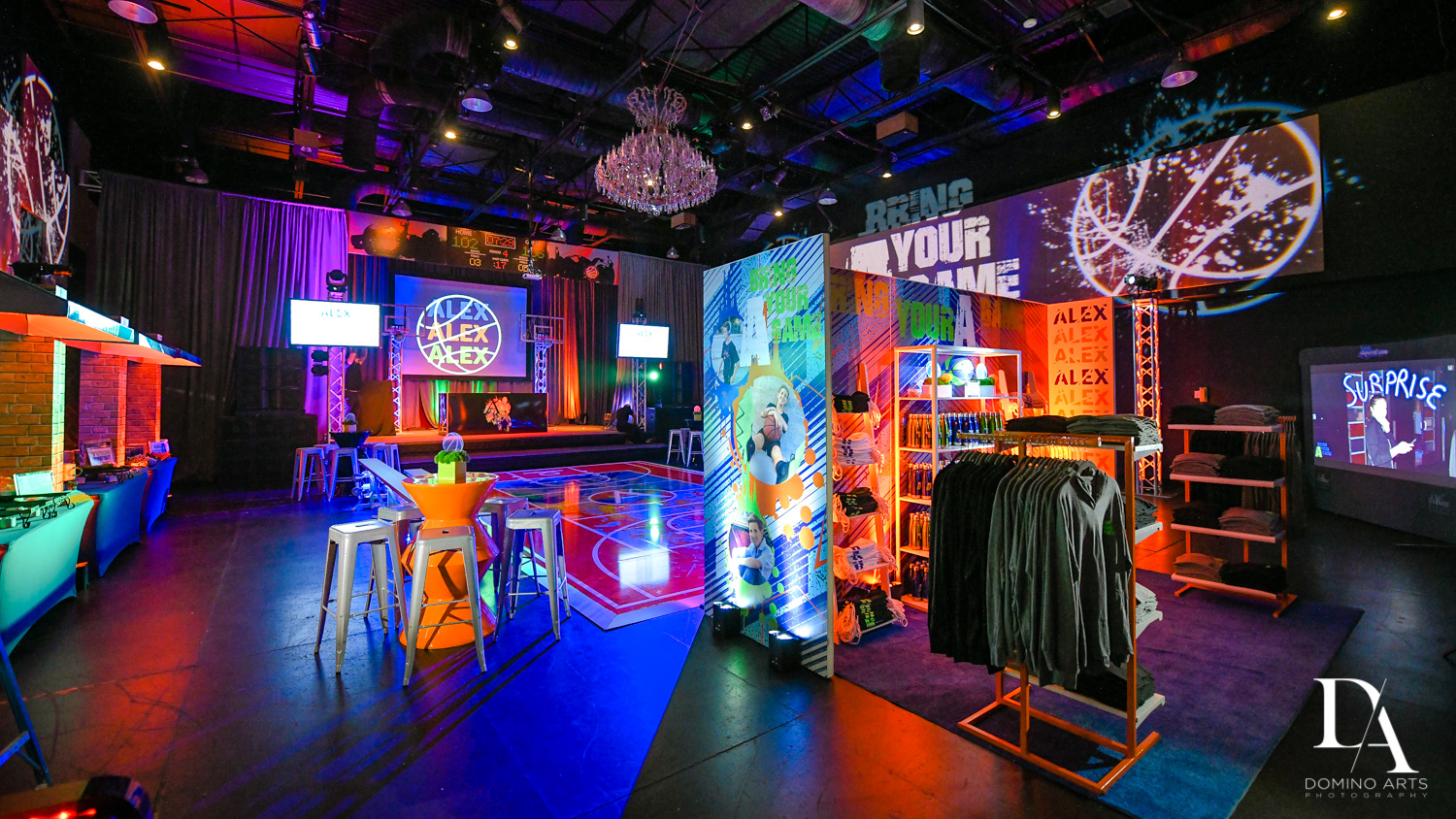 luxury decor at Fun Basketball Theme Bar Mitzvah at The Fillmore Miami Beach by Domino Arts Photography