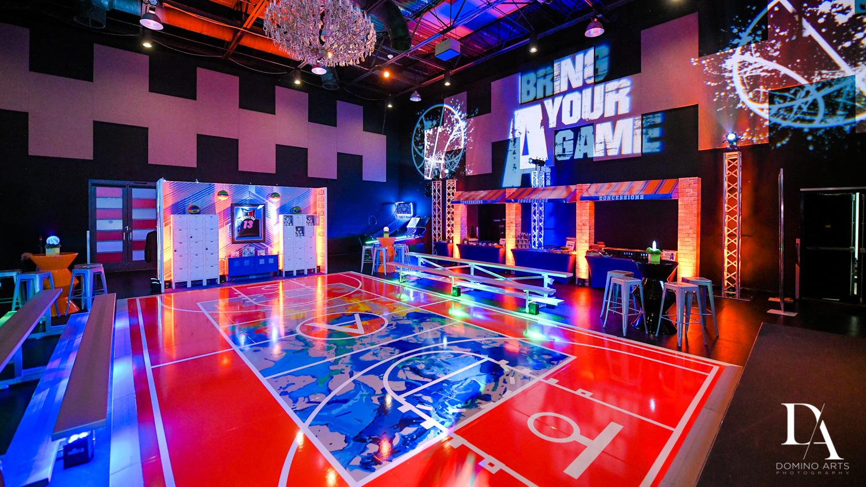 basketball decor at Fun Basketball Theme Bar Mitzvah at The Fillmore Miami Beach by Domino Arts Photography