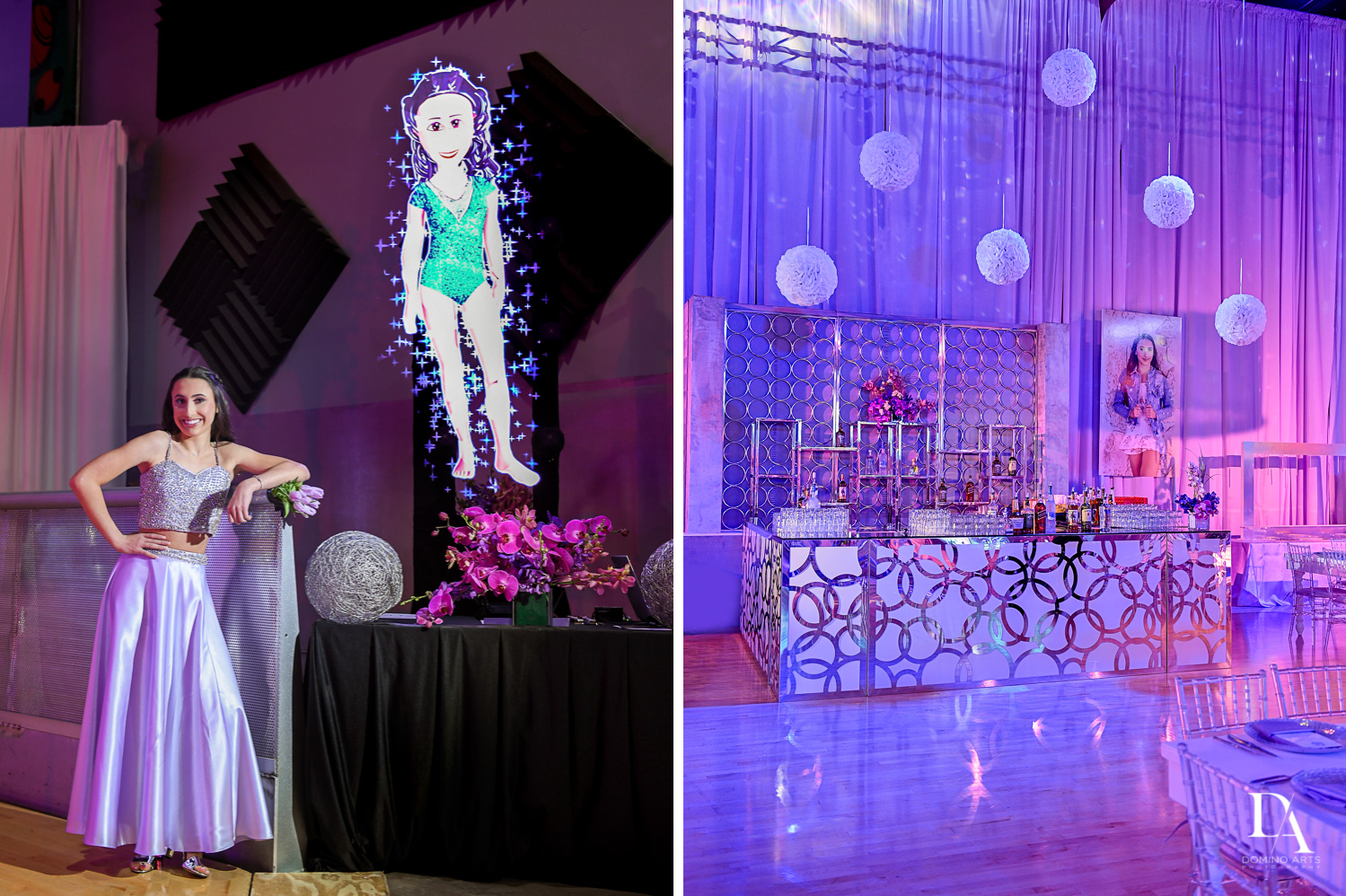hologram and great decor at Gymnastics Theme Bat Mitzvah Photography at Xtreme Action Park by Domino Arts