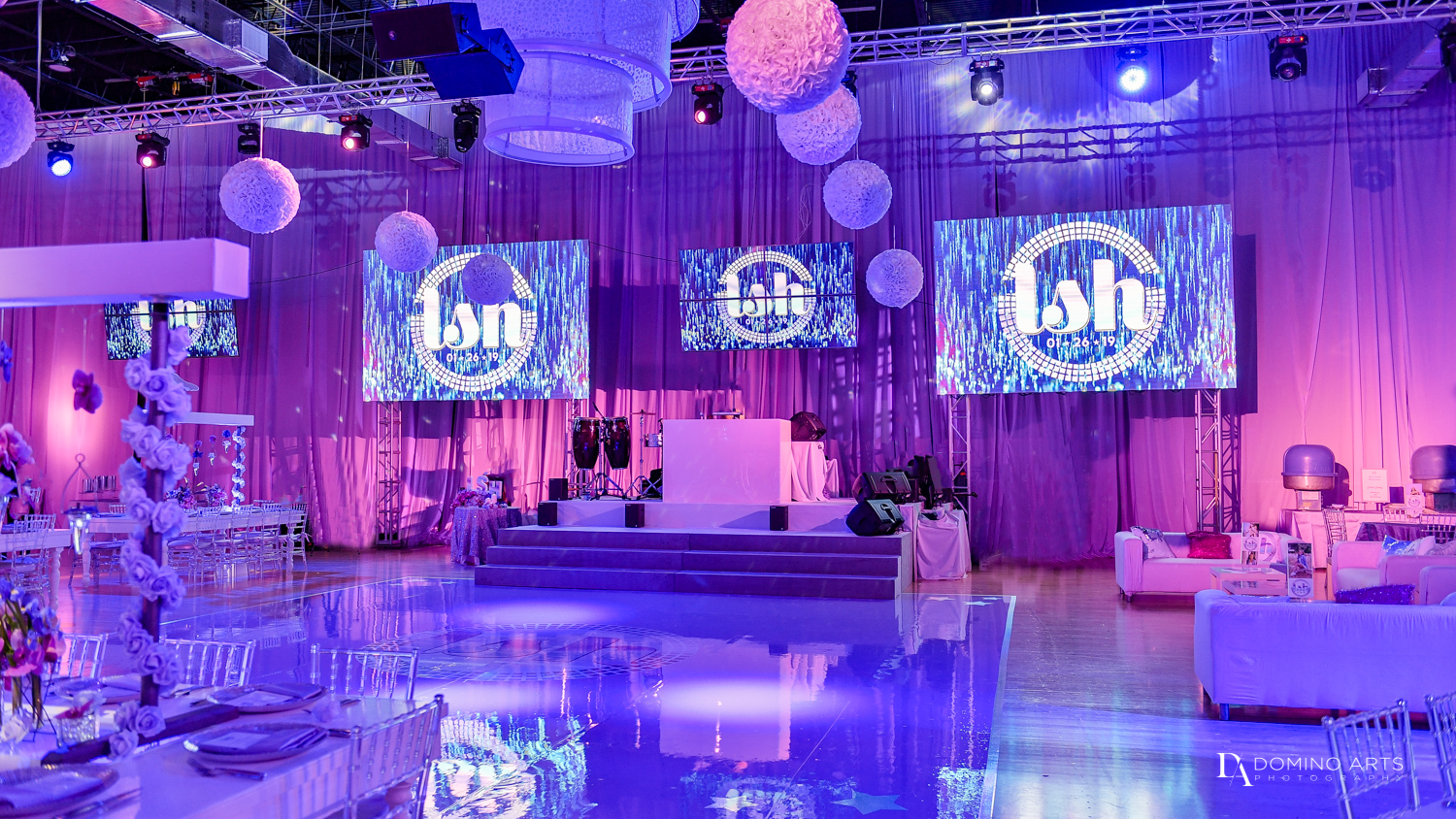 purple decor at Gymnastics Theme Bat Mitzvah Photography at Xtreme Action Park by Domino Arts
