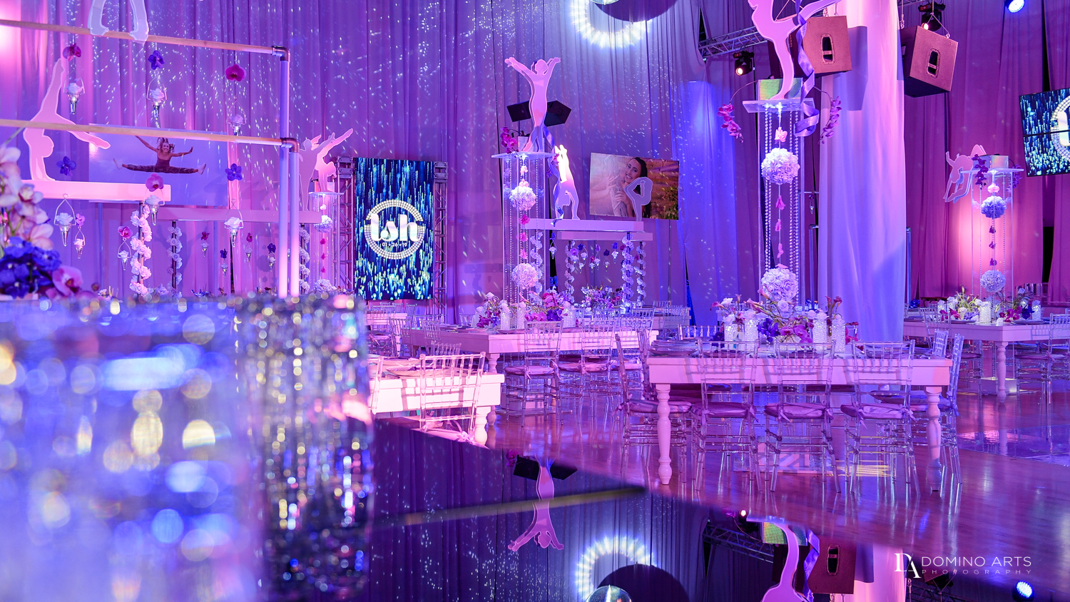 luxury decor at Gymnastics Theme Bat Mitzvah Photography at Xtreme Action Park by Domino Arts