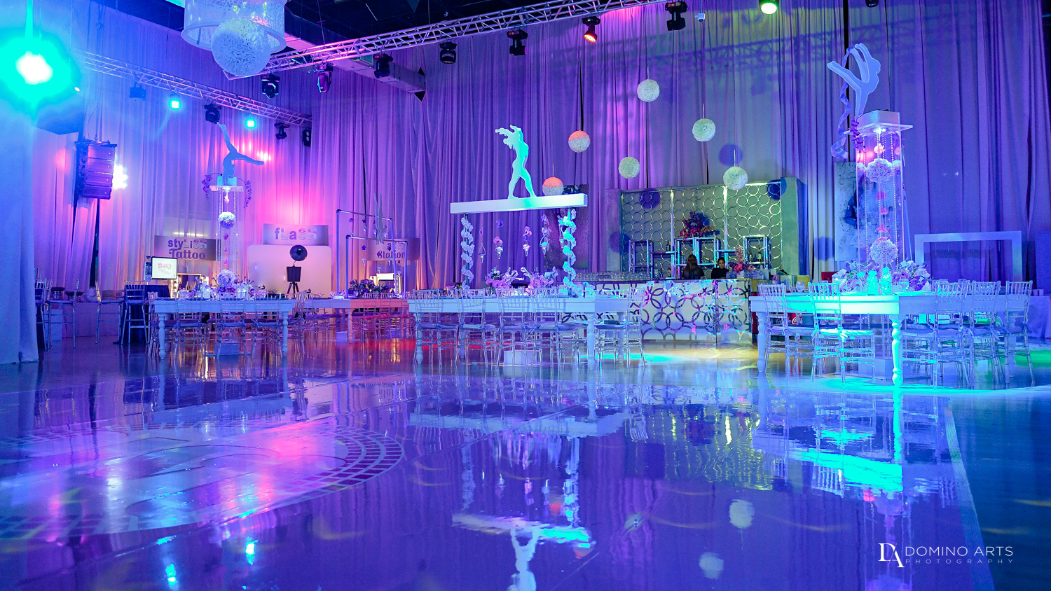 Gymnastics Theme decor for Bat Mitzvah Photography at Xtreme Action Park by Domino Arts