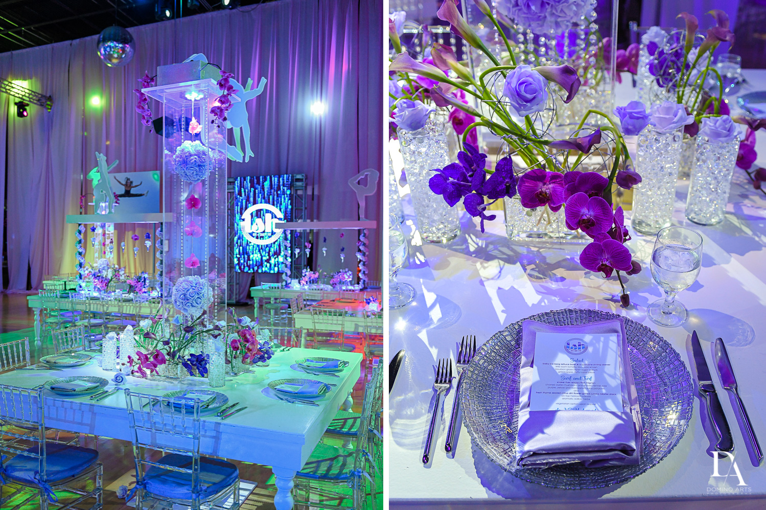 luxury purple bat mitzvah decor by domino arts photography